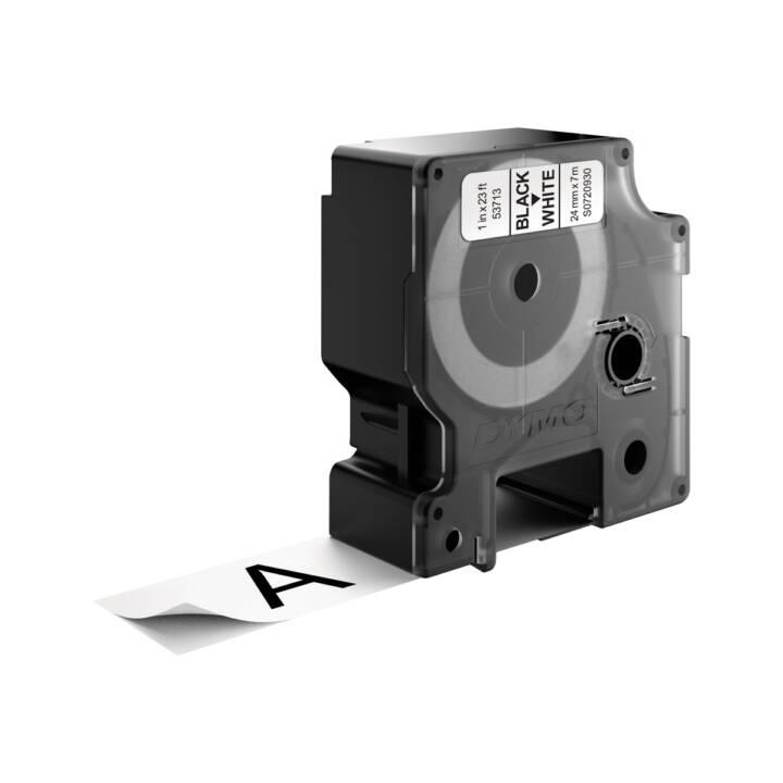 DYMO Ruban d'écriture (24 mm x 7 m, Noir / Blanc)