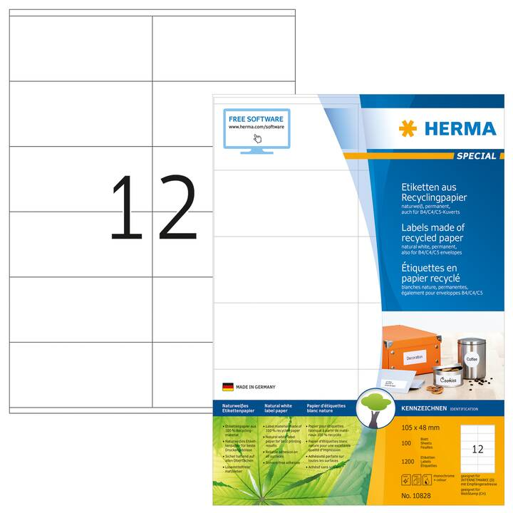 HERMA Universal Recycling Ettiquettes (A4, 105 x 48 mm, 12 pièce)