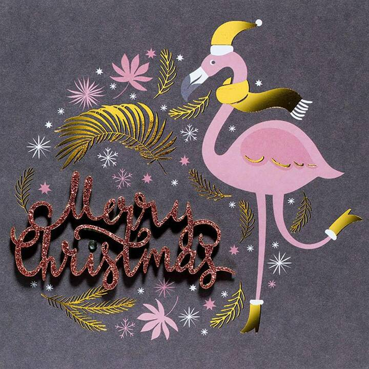 PERLEBERG Weihnachtskarte Merry Christmas (Weihnachten / Advent, Schwarz, Gold, Pink)