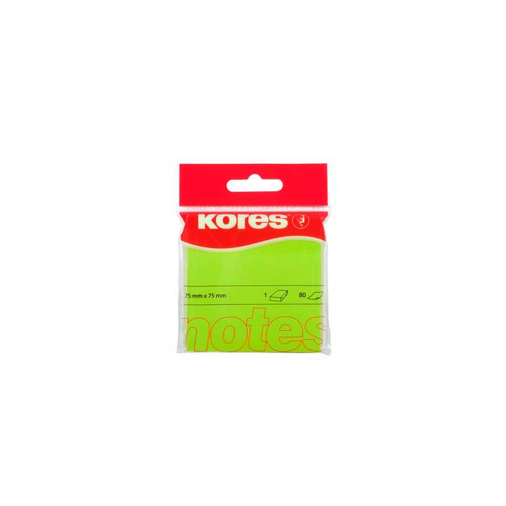 KORES Notes autocollantes (75 mm x 7.5 cm, Vert)