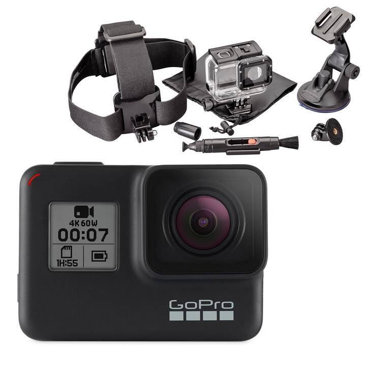GOPRO Hero 7 Black + Intertronic 6 in 1 Action Cam Kit (12 MP, Schwarz)