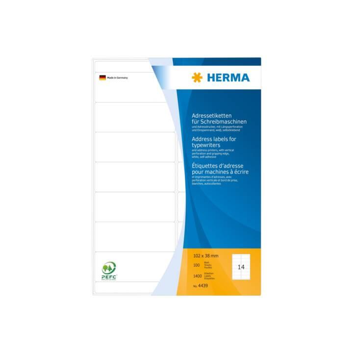 Etiquettes d'adresse HERMA pour machines à écrire A4 102x38 mm 1400 pièces