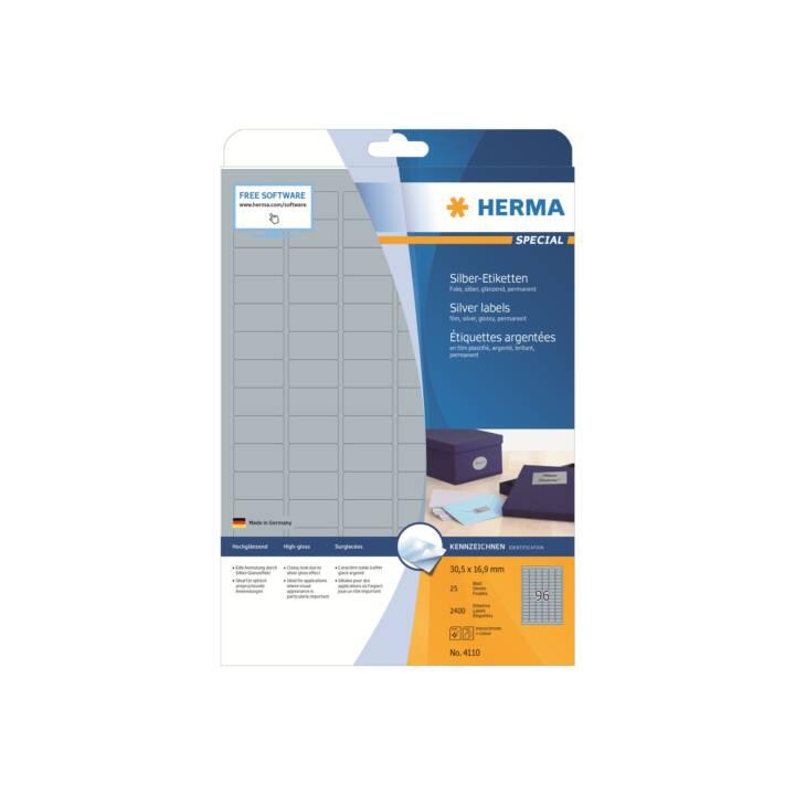 HERMA Etiketten A4 30.5x16.9 mm silber