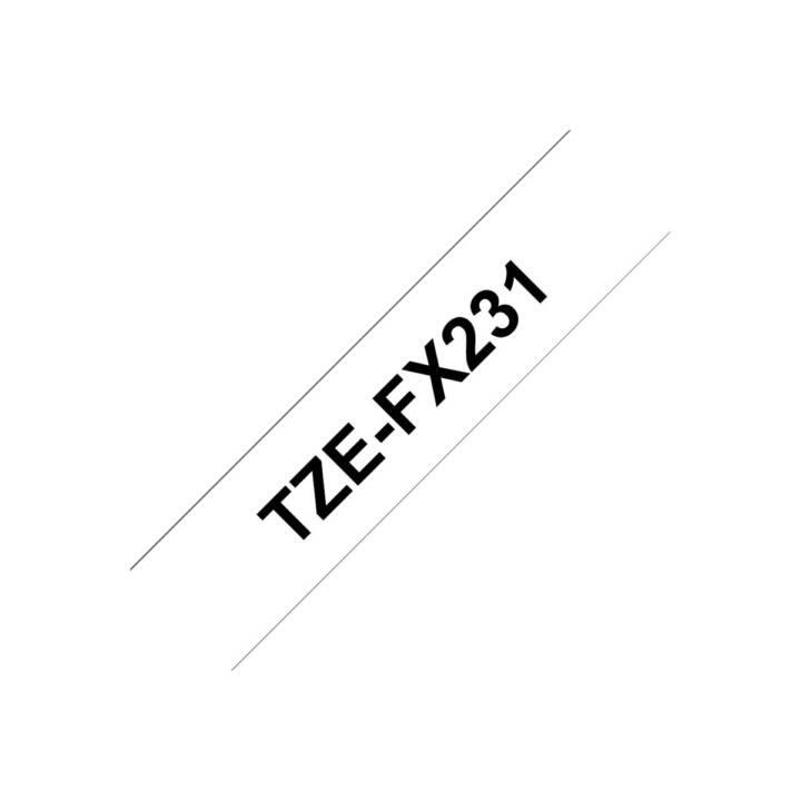 BROTHER TZeFX231 Schriftband (12 mm x 8 m, Schwarz / Weiss)