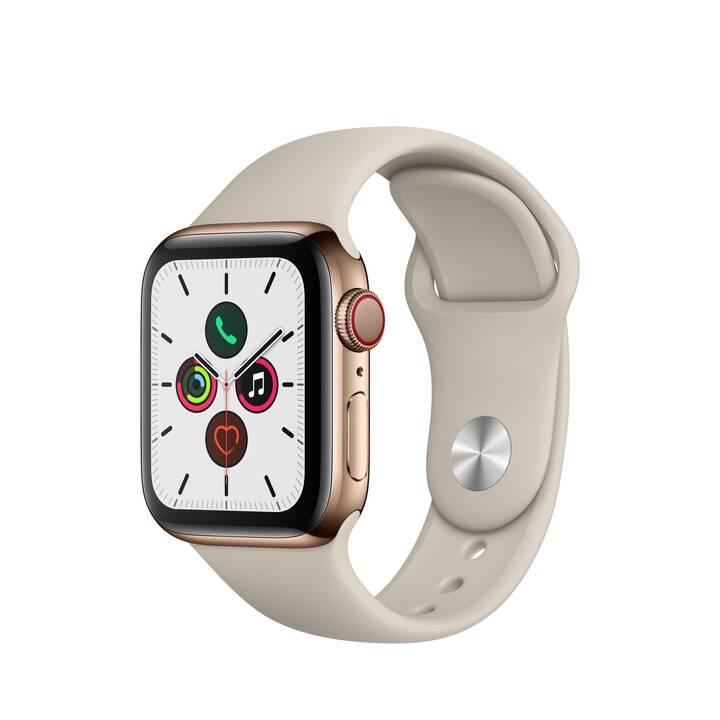 APPLE Watch Series 5 GPS + LTE Gold/Stein (40 mm, Edelstahl, Silikon)