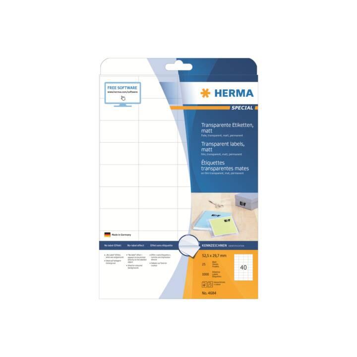 Etiquettes HERMA transparentes mat A4 52,5x29,7 mm 1000 pièces
