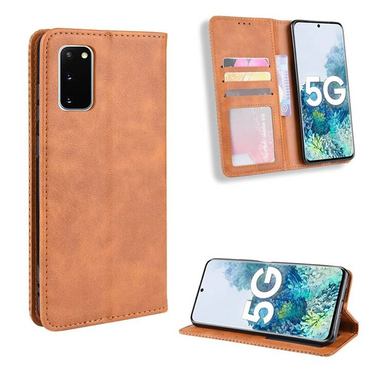"""EG Mornrise étui portefeuille pour Samsung Galaxy S20 Plus 6.7"""" 2020 - marron"""