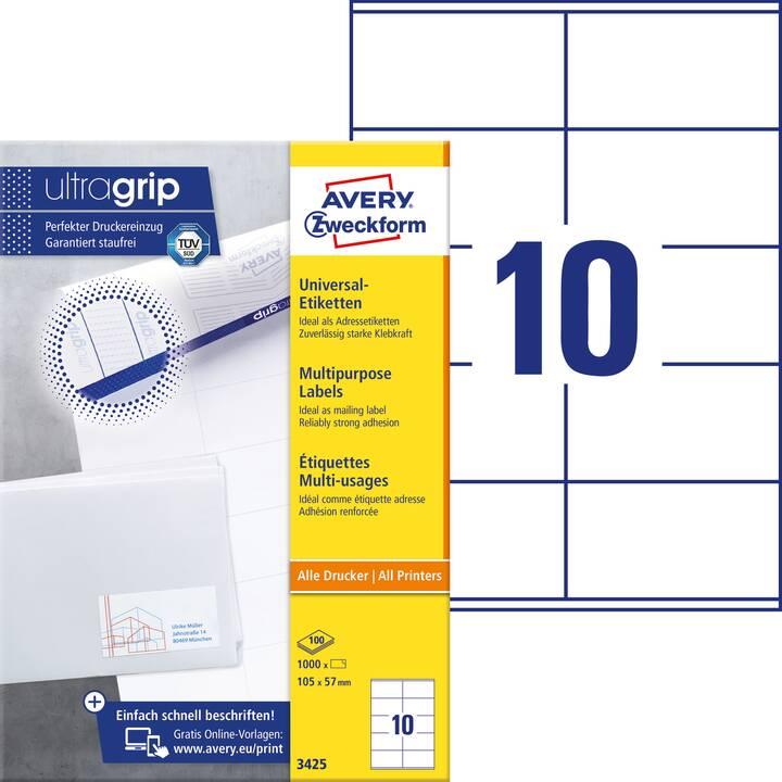 AVERY ZWECKFORM 3425 ultragrip Etichette (A4, 105 x 57 mm, 100 foglio)