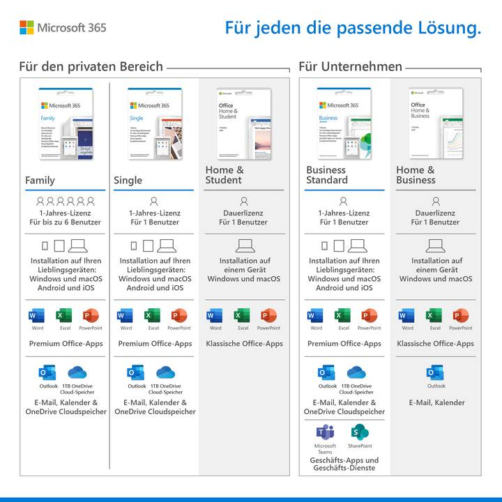 MICROSOFT Office Home & Student 2019 (Version complète, 1x, Allemand)