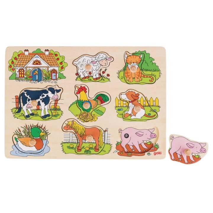 GOKI Tierstimmen Bauernhof Puzzle