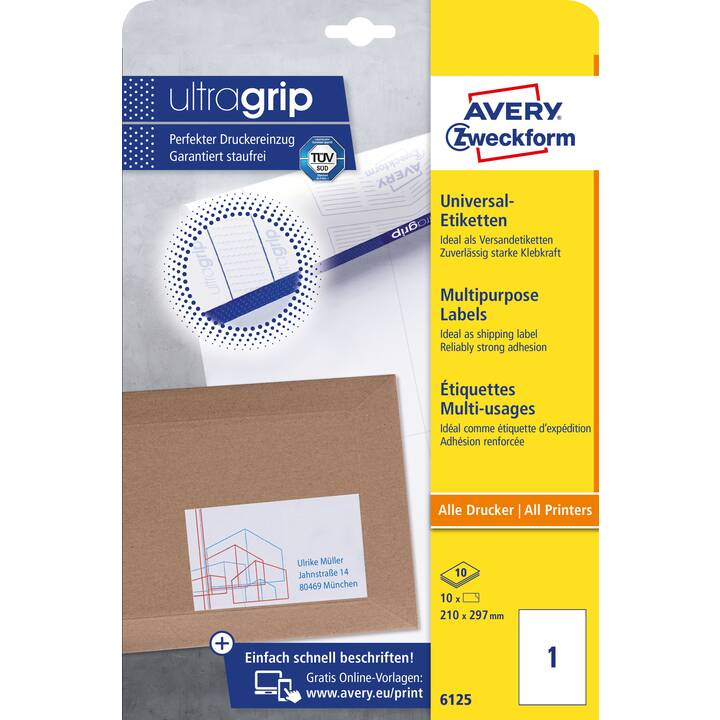 AVERY ZWECKFORM 6125 ultragrip Ettiquettes (A4, 210 x 297 mm, 10 feuille)
