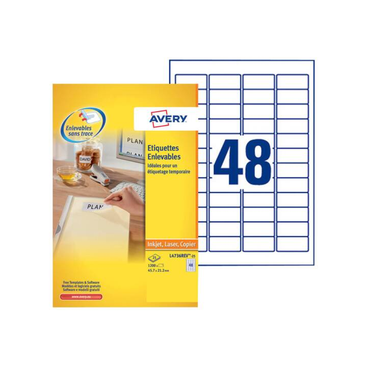 AVERY ZWECKFORM Universal-Etiketten 45.7 x 21.2 mm L4736REV Weiss