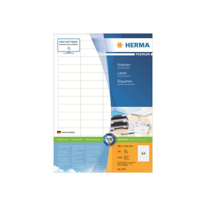 Etiquettes HERMA Premium A4 48,3x16,9 mm 6400 pièces