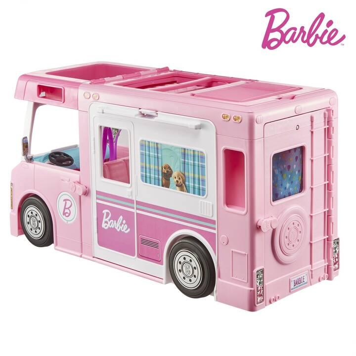 BARBIE 3-in-1 Camping-Car Transformable Poussette de poupée (Pink, Multicolore)
