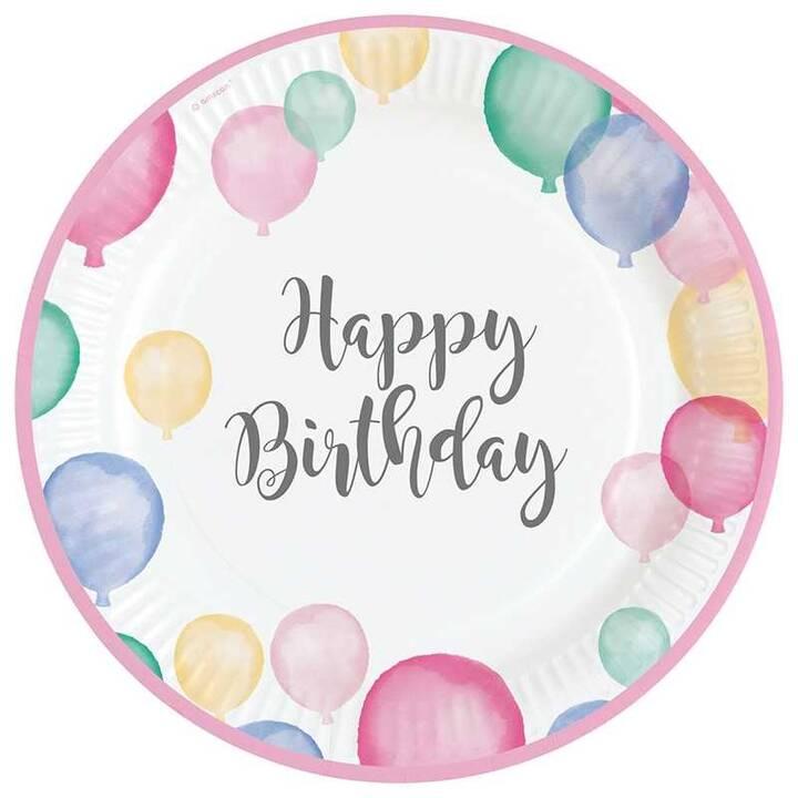 AMSCAN Happy Birthday piatti monouso (23 cm, 8 pezzo)