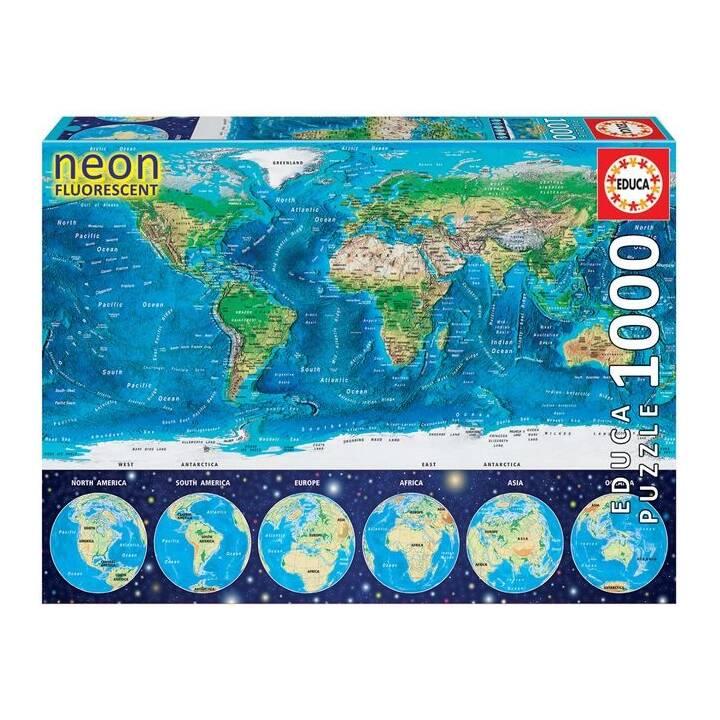 EDUCA Neon World Map Puzzle (1000 pezzo)
