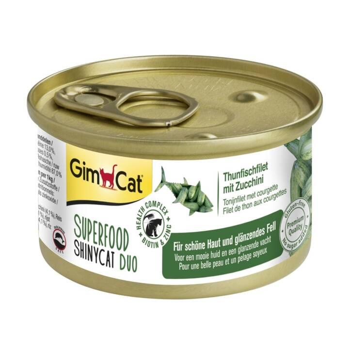 GIMCAT Superfood ShinyCat Duo (Adulto, 70 g, Tonno, Zucchino)