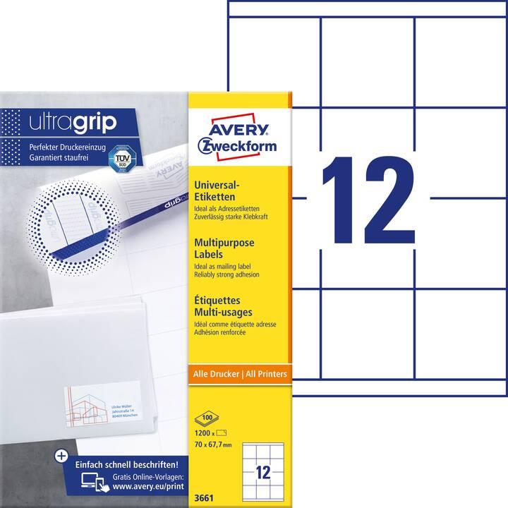 AVERY ZWECKFORM 3661 ultragrip Etiketten (A4, 70 x 67.7 mm, 100 Blatt)