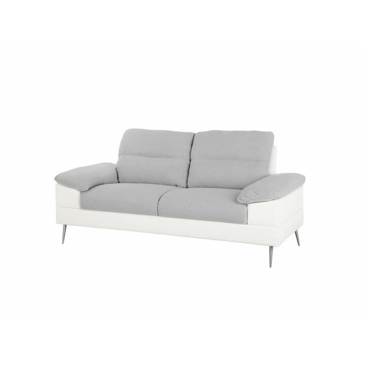 BELIANI Tjome Canapé (Polyester, Mousse synthétique, Similicuir, Gris, Blanc, 205 cm x 86 cm)