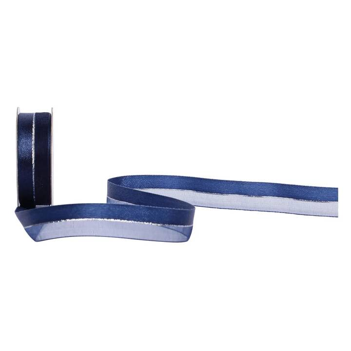 SPYK Ruban cadeau Cubino (1.6 cm x 300 cm, Argent, Bleu, Unicolore)