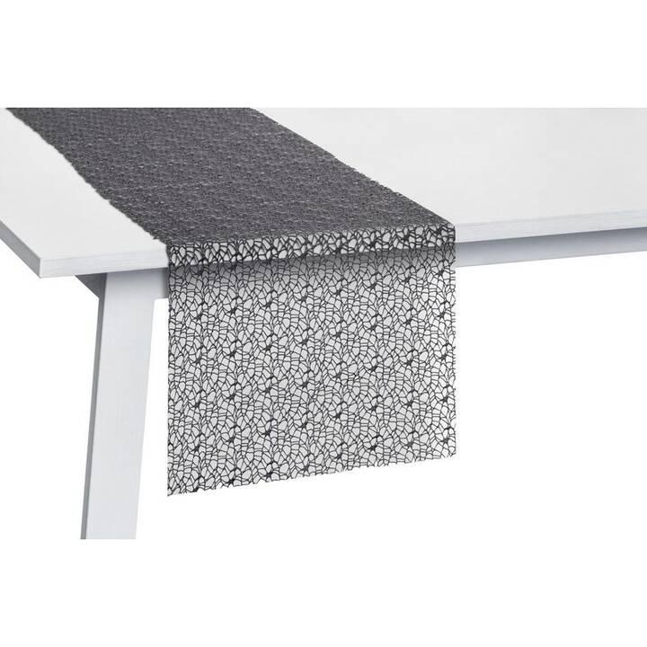 PICHLER Chemin de table Network (30 cm x 260 cm, Rectangulaire, Noir graphite)