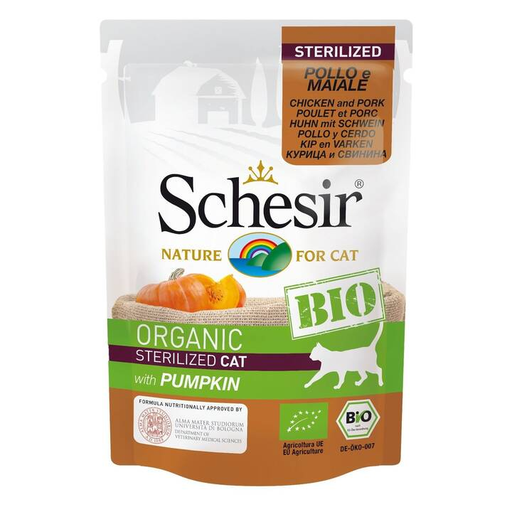 SCHESIR Alimentation humide (Adulte, 85 g, Poule, Porc)