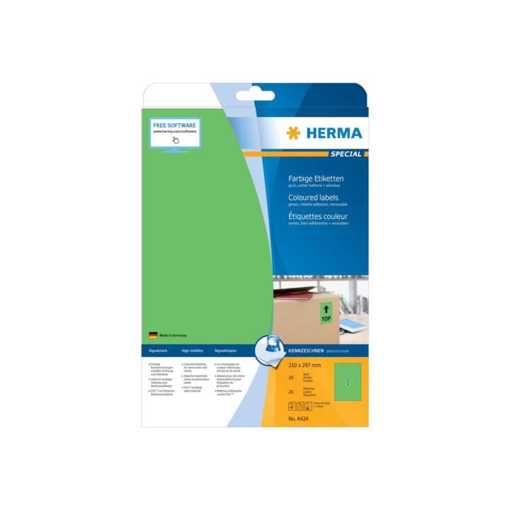Etichette colorate HERMA A4 210x297 mm 20 pezzi