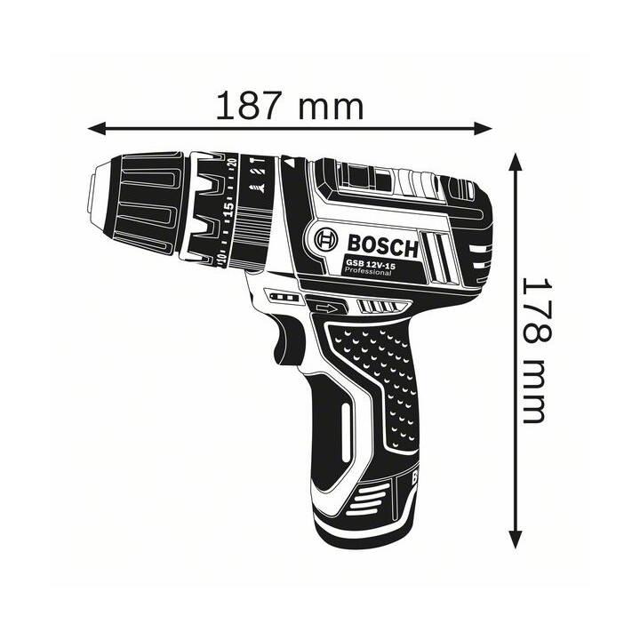 BOSCH Schlagbohrmaschine GSB 12V-15 Professional (2.0 Ah, 12 V)