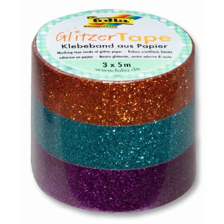 FOLIA Nastro adesivo glitter 28501 (Turchese, Rame, Viola, 5 m)