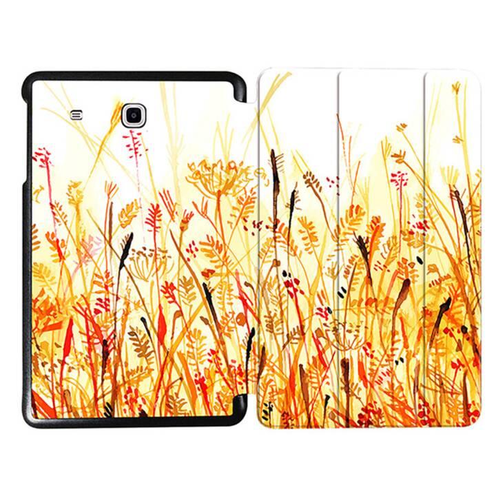 """EG MTT Tablet Tasche mit faltbarer Abdeckung für Samsung Galaxy Tab E 9.6 """"- Orange Blumen"""