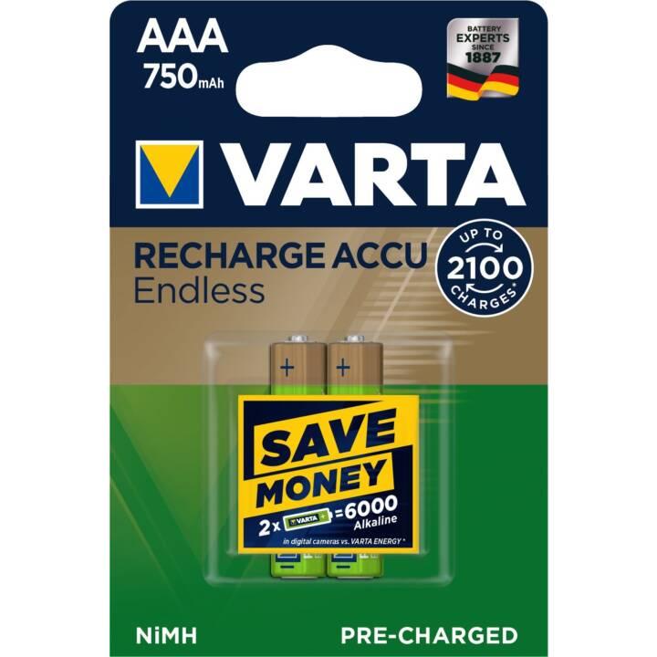 VARTA Endless Akku (AAA / Micro / LR03, 2 Stück)
