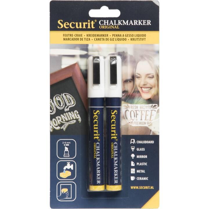 SECURIT Marqueur craie 6mm (Blanc, 2 pièce)
