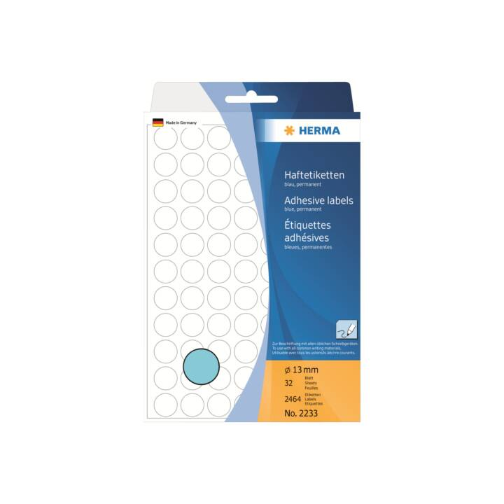 Etiquettes HERMA rondes 13mm bleu