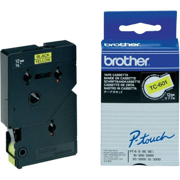 BROTHER TC601 Farbband (12 mm x 7.7 m, Schwarz / Gelb)