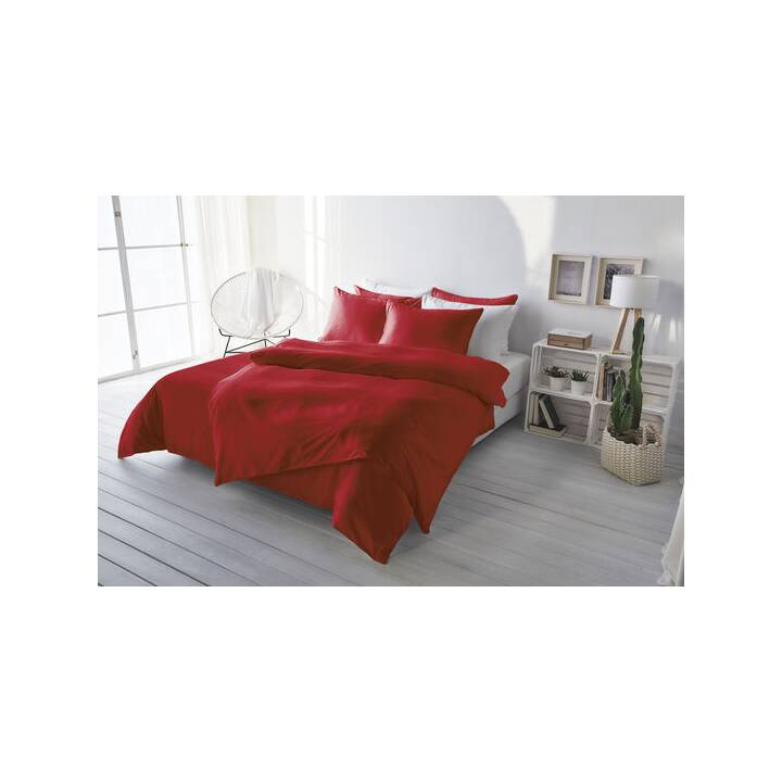LIVING HOME Copripiumone Uni Satin (240 cm x 240 cm, Rosso)