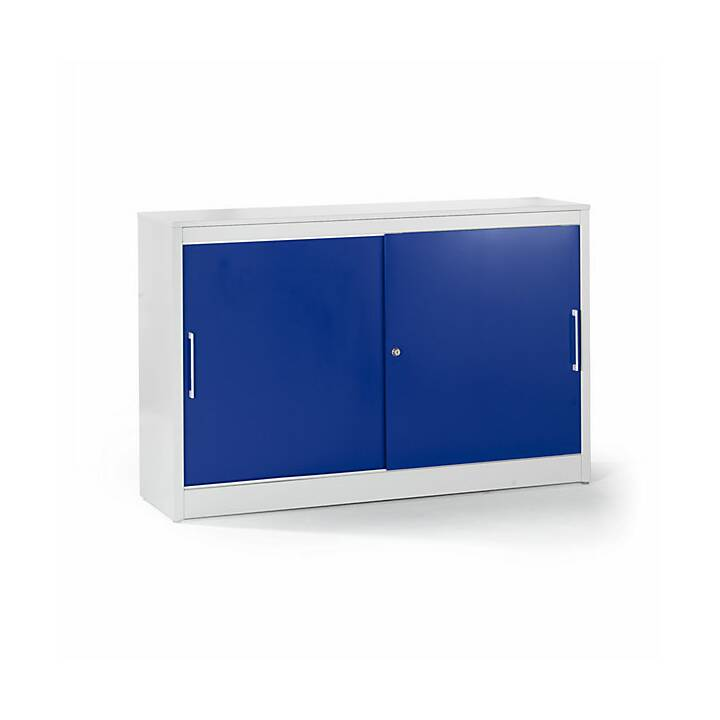 MAUSER Schiebetürschrank (Grau, Blau, 160 x 42 cm)