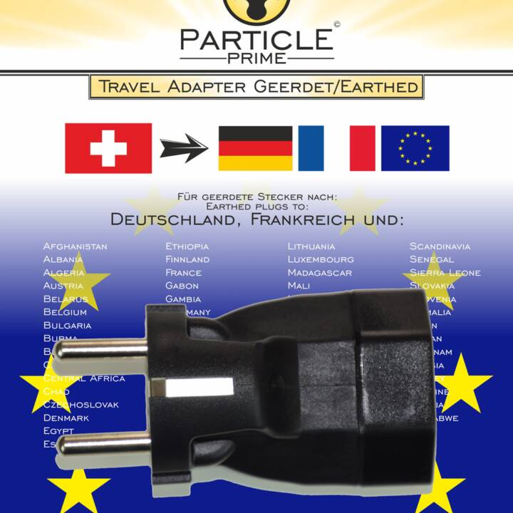GO TRAVEL Adaptateur de voyage Earthed  (Type C, Europe / Type J, CH)