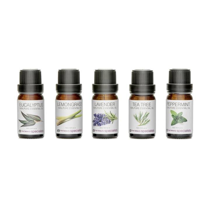 RIO Huile essentielle Pure Essential Oil Collection (Eucalyptus, Citronnelle, Lavande, Arbre à thé, Menthe poivrée, 10 ml)