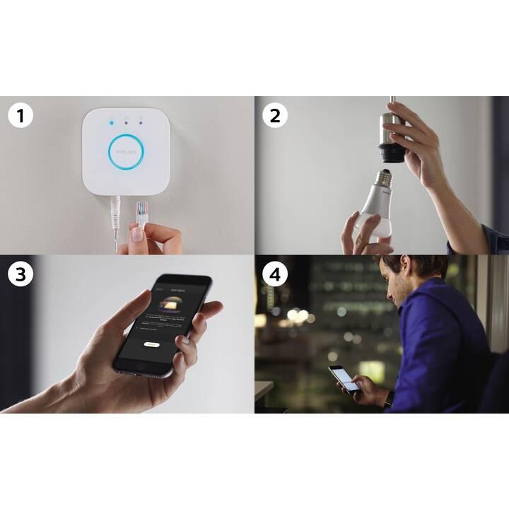 PHILIPS HUE Ampoule LED Starter Kit White Ambiance BT (E27, ZigBee, Bluetooth, 8.5 W)
