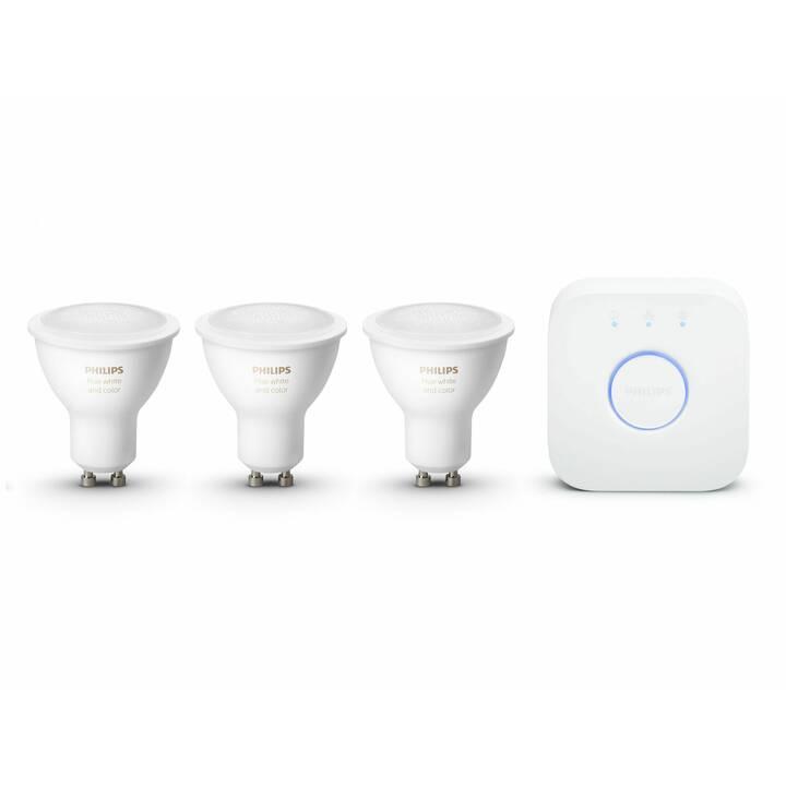 PHILIPS HUE LED Birne Starter Kit White & Color Ambiance BT (GU10, ZigBee, Bluetooth, 6.5 W)