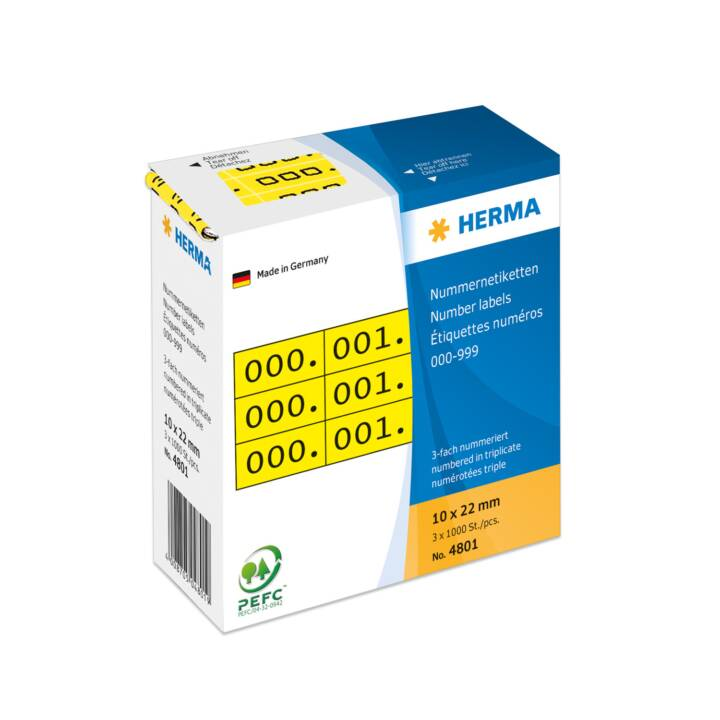 HERMA Dreifach-Nummern 22x10mm