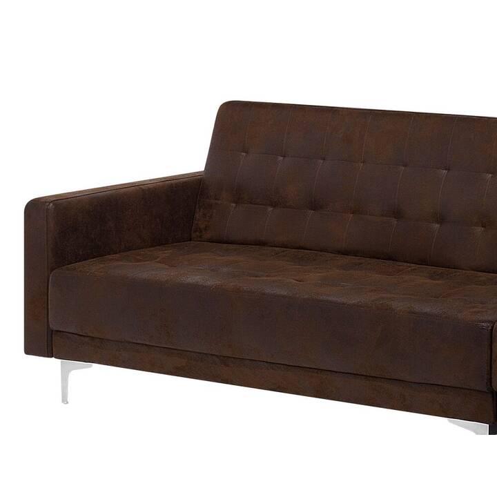 BELIANI Aberdeen Ecksofa (Polyester, Kunstleder, Braun, 267 cm x 168 cm)
