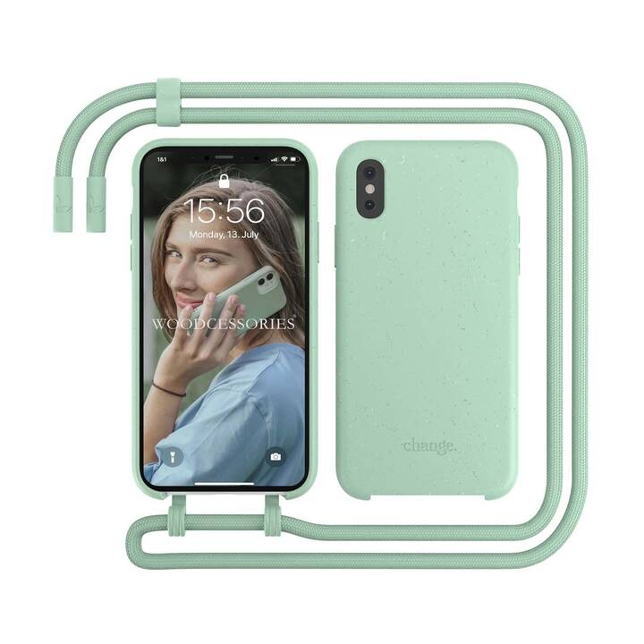 WOODCESSORIES Backcover con cordoncino Change Case (iPhone X, iPhone XS, Antibatterico, Verde menta)