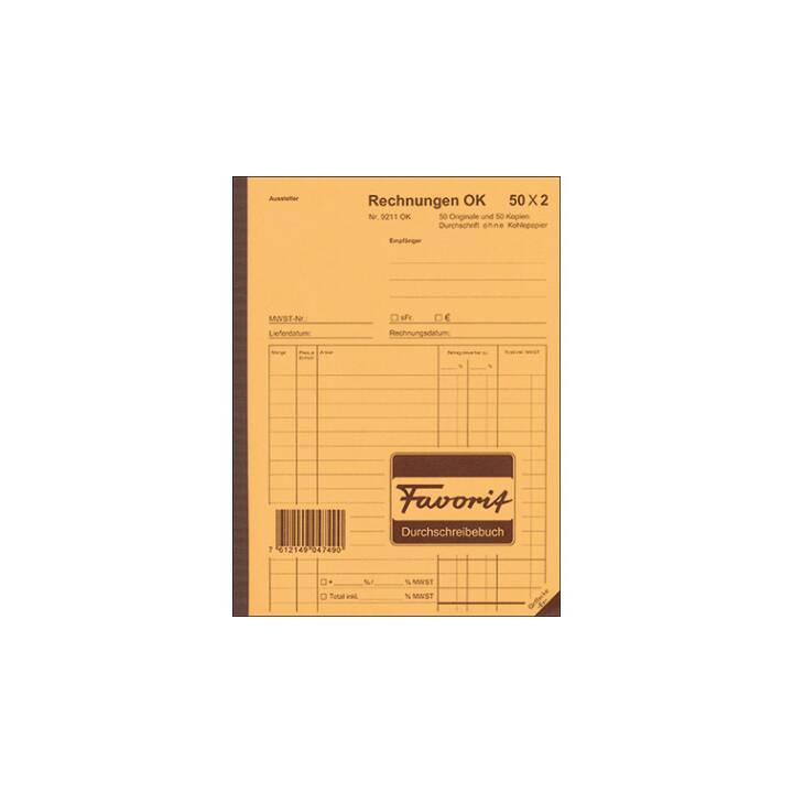 FAVORIT SPA Durchschreibepapier Rechnungen, A5
