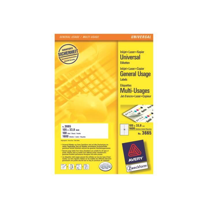 AVERY ZWECKFORM Etiketten, 105×33,8mm, A4, 1600 Stück