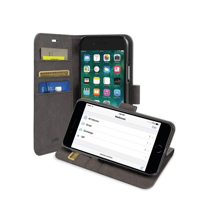SBS Flipcover BOOK CASE WALLET (iPhone SE, iPhone 8, iPhone 7, Schwarz)