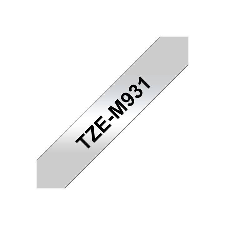BROTHER TZeM931 Farbband (12 mm x 8 m, Schwarz / Silbermatt)