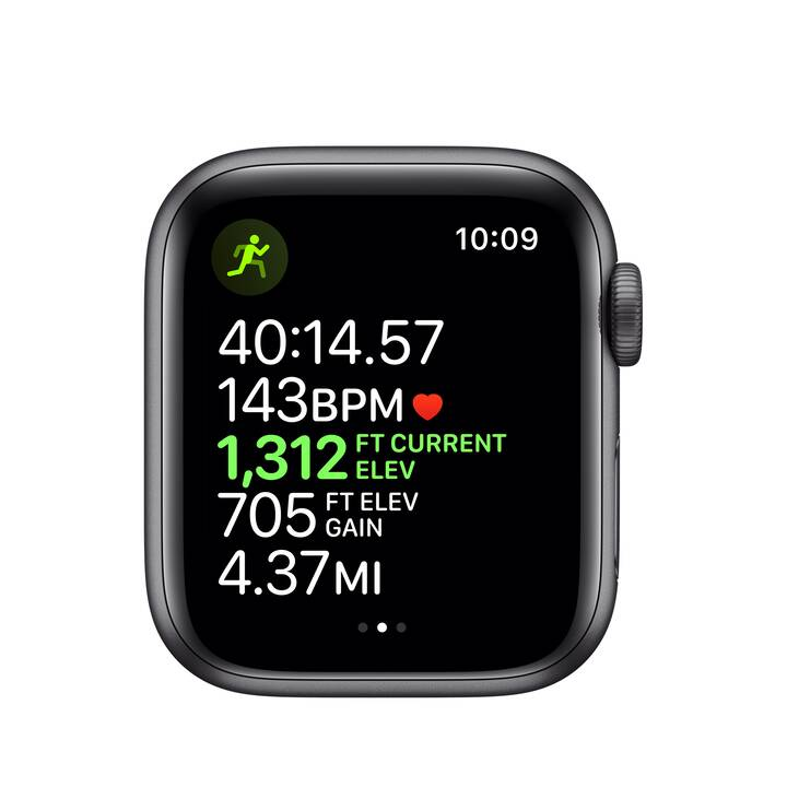 APPLE Watch Series 5 GPS Space Grau/Schwarz (40 mm, Aluminium, Silikon)
