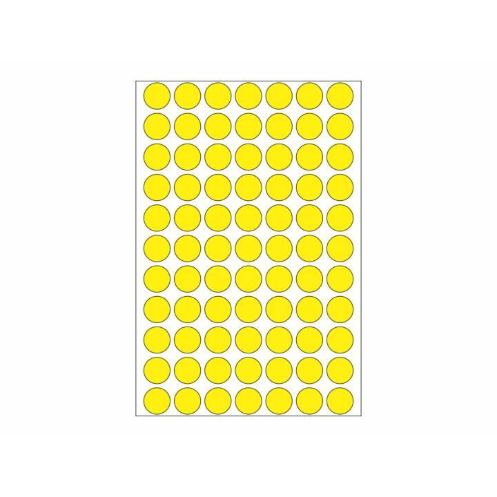 Etiquettes HERMA rondes 13mm jaunes