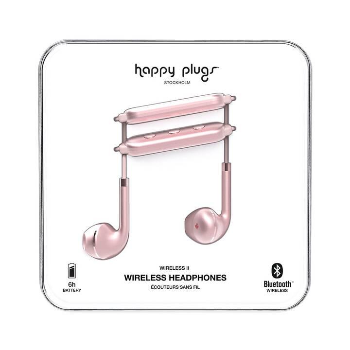 HAPPY PLUGS Wireless II (In-Ear, Bluetooth 4.2, Pink doré)